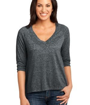 District Made – Ladies Microburn V-Neck Raglan Tee Style DM462 1