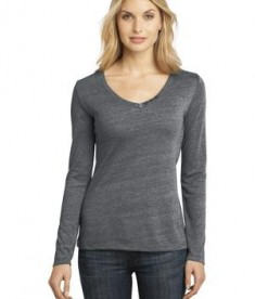 District Made - Ladies Textured Long Sleeve V-Neck with Button Detail Style DM472