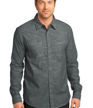 District Made – Mens Long Sleeve Washed Woven Shirt Style DM3800 1
