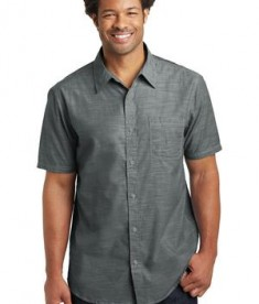 District Made Mens Short Sleeve Washed Woven Shirt Style DM3810