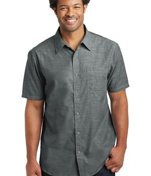 District Made Mens Short Sleeve Washed Woven Shirt Style DM3810 1