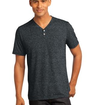 District Made – Mens Tri-Blend Short Sleeve Henley Tee Style DM342 1