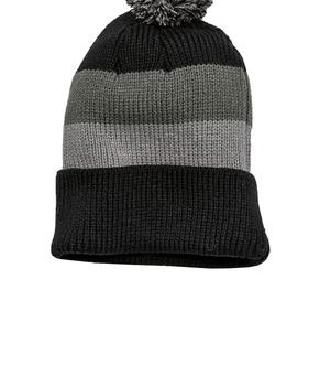 District – Vintage Striped Beanie with Removable Pom Style DT627 1