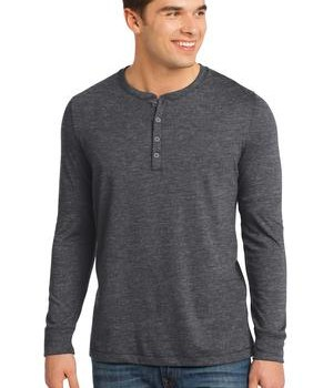 District – Young Mens Gravel 50/50 Long Sleeve Henley Tee Style DT1401 1
