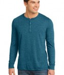 District - Young Mens Gravel 50/50 Long Sleeve Henley Tee Style DT1401