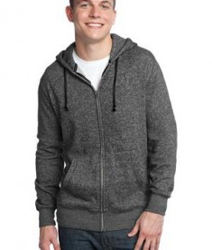 District - Young Mens Marled Fleece Full-Zip Hoodie Style DT192