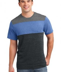 District Young Mens Tri-Blend Pieced Crewneck Tee Style DT143