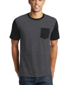 District Young Mens Very Important Tee with Contrast Sleeves and Pocket Style DT6000SP