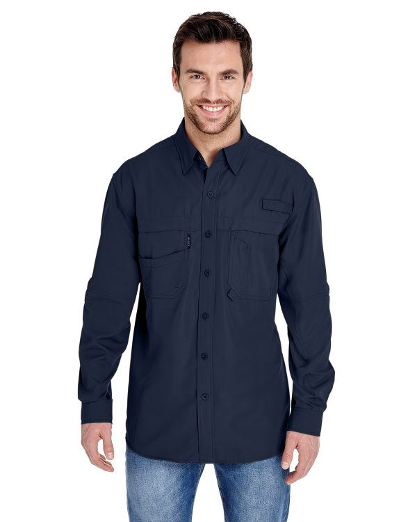 Dri Duck Men's Long-Sleeve Catch Fishing Shirt Deep Blue