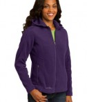 Eddie Bauer Ladies Hooded Full-Zip Fleece Jacket Style EB206 Blackberry Angle