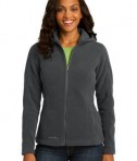 Eddie Bauer Ladies Hooded Full-Zip Fleece Jacket Style EB206 Grey Steel