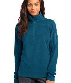Eddie Bauer - Ladies 1/4-Zip Grid Fleece Pullover Style EB221 Adriatic Blue