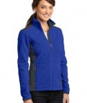 Eddie Bauer Ladies Full-Zip Sherpa Fleece Jacket Style EB233 Concord Sapphire/Grey Steel Angle