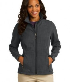 Eddie Bauer Ladies Shaded Crosshatch Soft Shell Jacket Style EB533 Grey