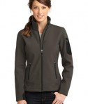 Eddie Bauer Ladies Rugged Ripstop Soft Shell Jacket Style EB535 Canteen Grey/Black