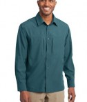 Eddie Bauer - Long Sleeve Performance Travel Shirt Style EB604 Gulf Teal