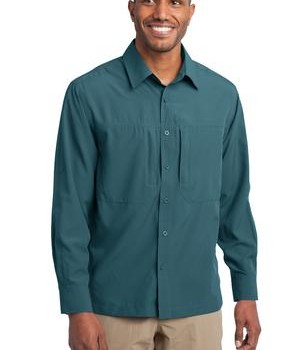 Eddie Bauer – Long Sleeve Performance Travel Shirt Style EB604 Gulf Teal