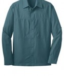 Eddie Bauer - Long Sleeve Performance Travel Shirt Style EB604 Gulf Teal Flat Front