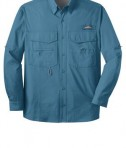 Eddie Bauer - Long Sleeve Fishing Shirt Style EB606 Blue Gill Flat Front