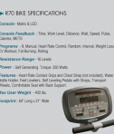 Fitnex R70 Specifications