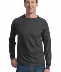 Fruit of the Loom Heavy Cotton HD 100% Cotton Long Sleeve T-Shirt Style 4930 Black Heather