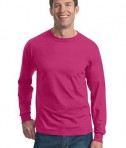 Fruit of the Loom Heavy Cotton HD 100% Cotton Long Sleeve T-Shirt Style 4930 Cyber Pink