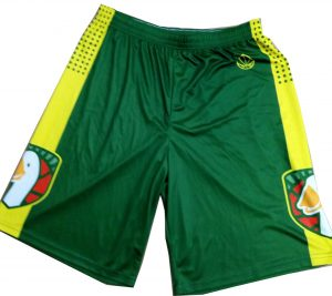 Basketball sublimation shorts green and yellow