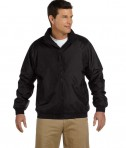 Harriton Fleece-Lined Nylon Jacket Black/Black