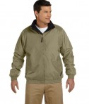 Harriton Fleece-Lined Nylon Jacket British Khaki/Black
