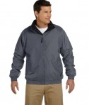 Harriton Fleece-Lined Nylon Jacket Graphite/Black