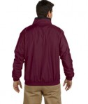 Harriton Fleece-Lined Nylon Jacket Maroon Black Back