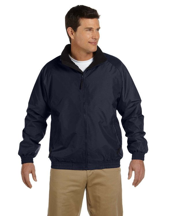 Harriton Fleece-Lined Nylon Jacket Navy/Black