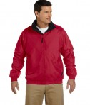 Harriton Fleece-Lined Nylon Jacket Red/Black