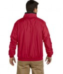 Harriton Fleece-Lined Nylon Jacket Red Black Back