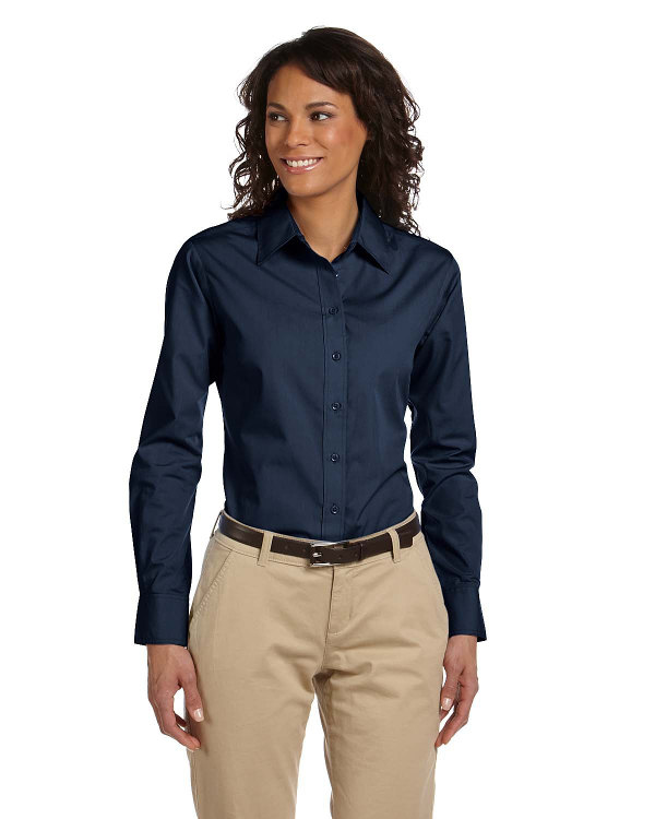 harriton-ladies-3.1-oz-essential-poplin-navy