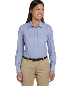 Harriton Ladies' 3.48 oz. Chambray LT Blue Chambray