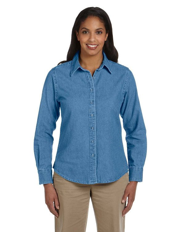 Harriton Ladies' 6.5 oz. Long-Sleeve Denim Shirt Light Denim