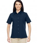Harriton Ladies' Advantage Snap Closure Short-Sleeve Shirt Dark Navy