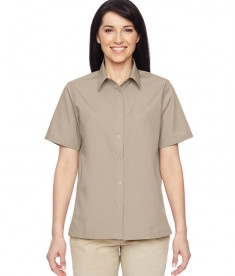 Harriton Ladies' Advantage Snap Closure Short-Sleeve Shirt Khaki