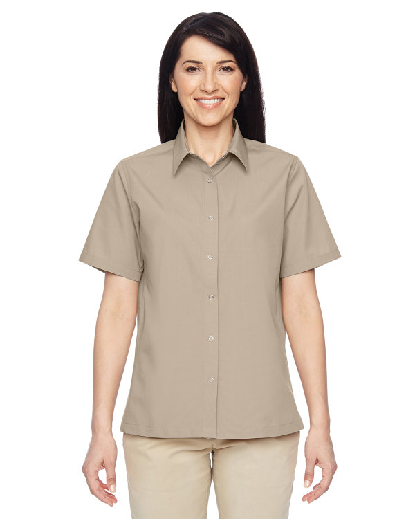 harriton-ladies-advantage-snap-closure-short-sleeve-shirt-khaki