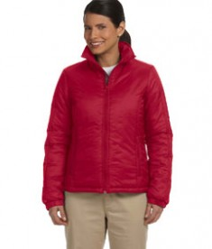 Harriton Ladies' Essential Polyfill Jacket Red