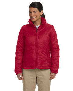 harriton-ladies-essential-polyfill-jacket-red