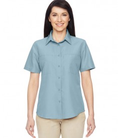 Harriton Ladies' Key West Short-Sleeve Performance Staff Shirt Cloud Blue