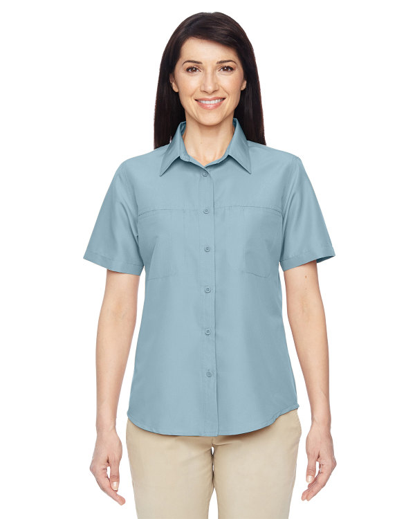 harriton-ladies-key-west-short-sleeve-performance-staff-shirt-cloud-blue
