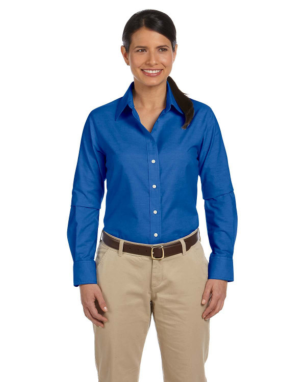 harriton-ladies-long-sleeve-oxford-with-stain-release-french-blue