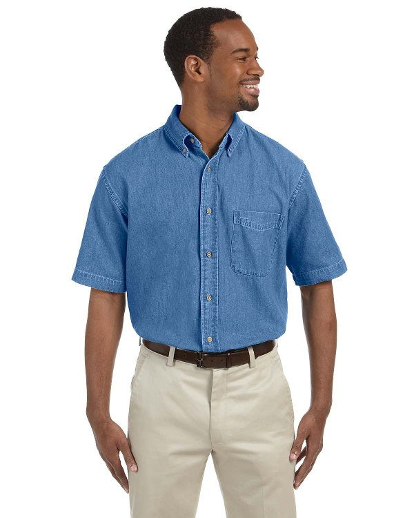 Harriton Men's 6.5 oz. Short-Sleeve Denim Shirt Light Denim
