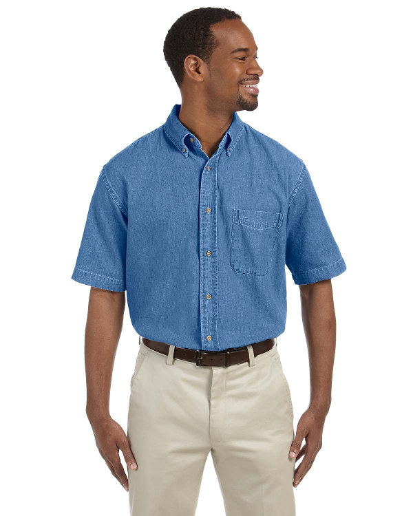 harriton-mens-6.5-oz-short-sleeve-denim-shirt-light-denim