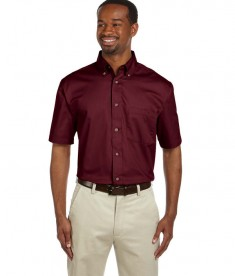 Harriton Men's Easy Blend™ Short-Sleeve Twill Shirt with Stain-Release Wine