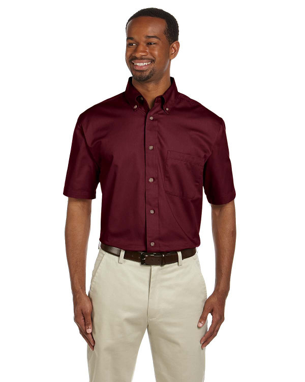 harriton-mens-easy-blend™-short-sleeve-twill-shirt-with-stain-release-wine
