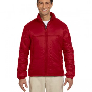 harriton-mens-essential-polyfill-jacket-red